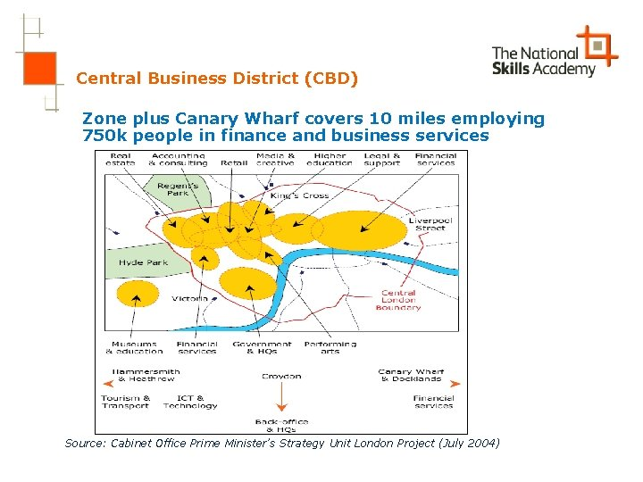Central Business District (CBD) Zone plus Canary Wharf covers 10 miles employing 750 k