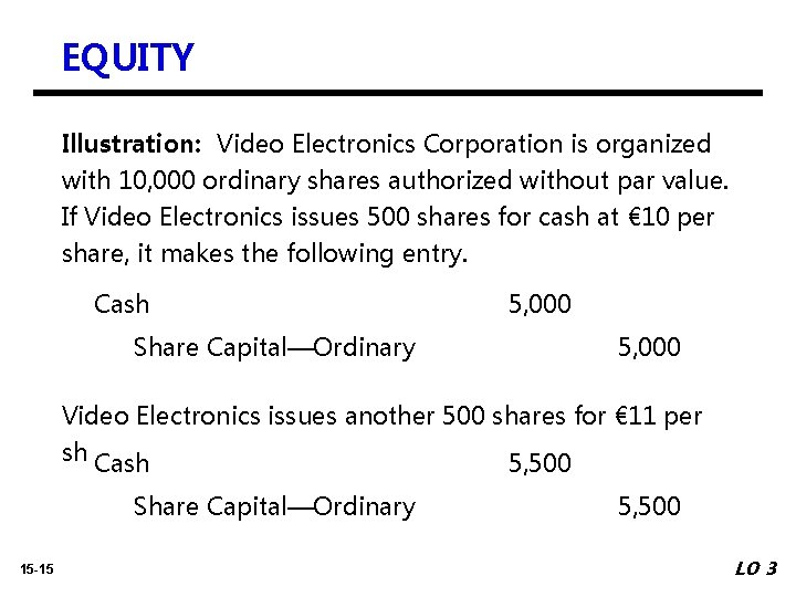 EQUITY Illustration: Video Electronics Corporation is organized with 10, 000 ordinary shares authorized without