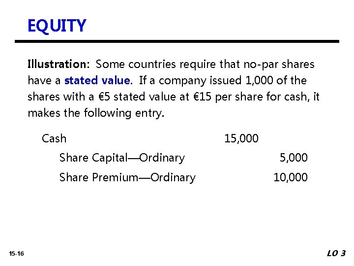 EQUITY Illustration: Some countries require that no-par shares have a stated value. If a