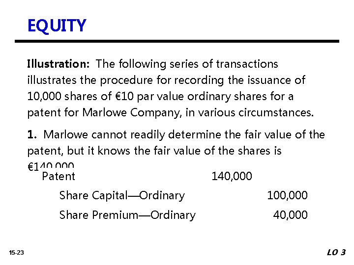 EQUITY Illustration: The following series of transactions illustrates the procedure for recording the issuance