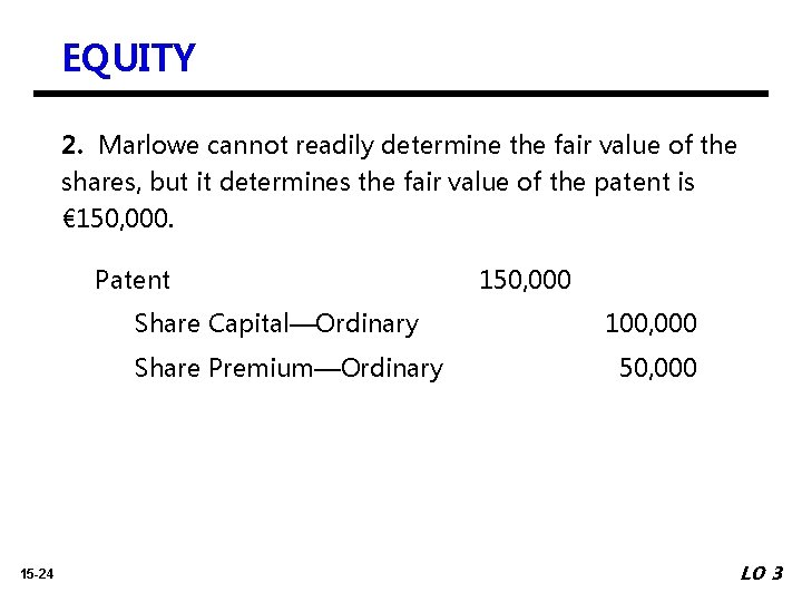 EQUITY 2. Marlowe cannot readily determine the fair value of the shares, but it