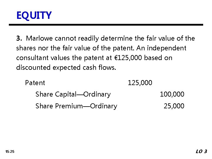 EQUITY 3. Marlowe cannot readily determine the fair value of the shares nor the
