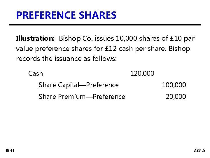 PREFERENCE SHARES Illustration: Bishop Co. issues 10, 000 shares of £ 10 par value