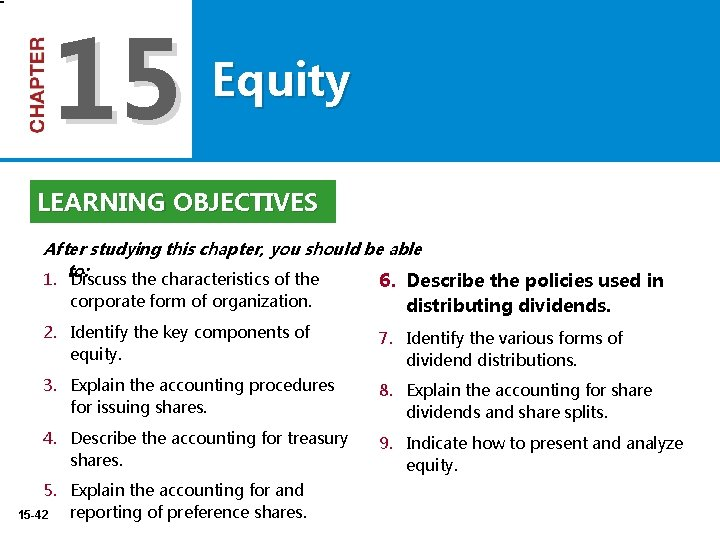 15 Equity LEARNING OBJECTIVES After studying this chapter, you should be able 1. to: