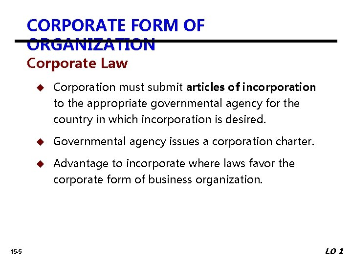 CORPORATE FORM OF ORGANIZATION Corporate Law u Corporation must submit articles of incorporation to