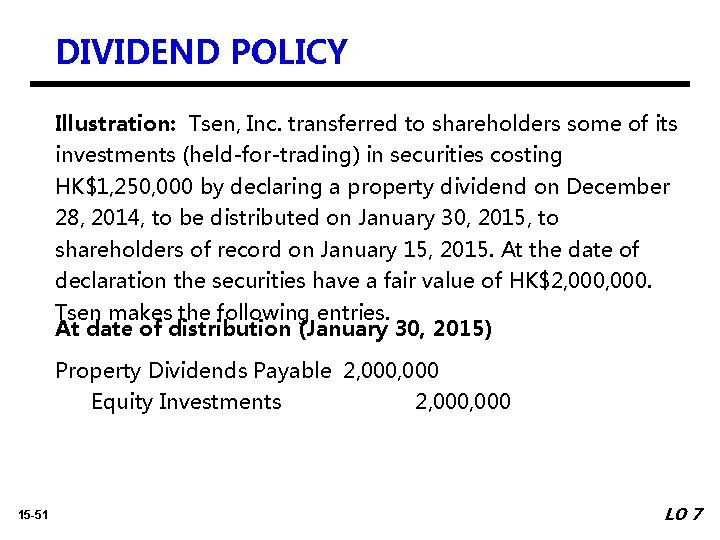 DIVIDEND POLICY Illustration: Tsen, Inc. transferred to shareholders some of its investments (held-for-trading) in