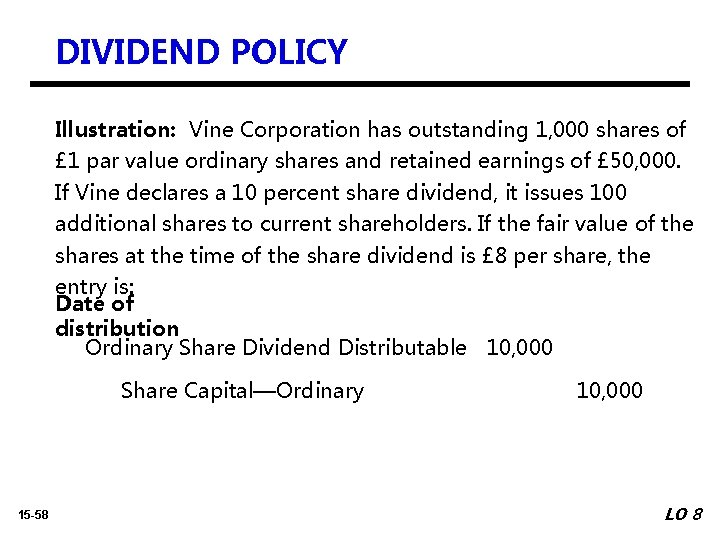 DIVIDEND POLICY Illustration: Vine Corporation has outstanding 1, 000 shares of £ 1 par
