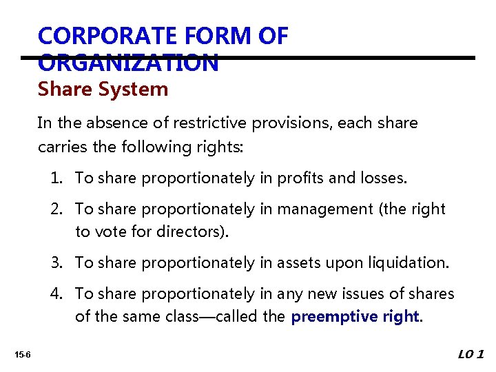 CORPORATE FORM OF ORGANIZATION Share System In the absence of restrictive provisions, each share