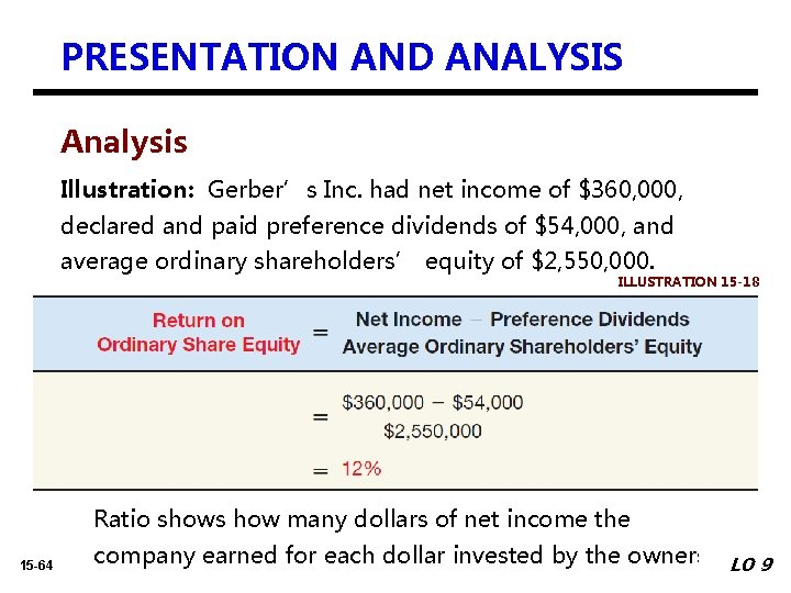 PRESENTATION AND ANALYSIS Analysis Illustration: Gerber's Inc. had net income of $360, 000, declared