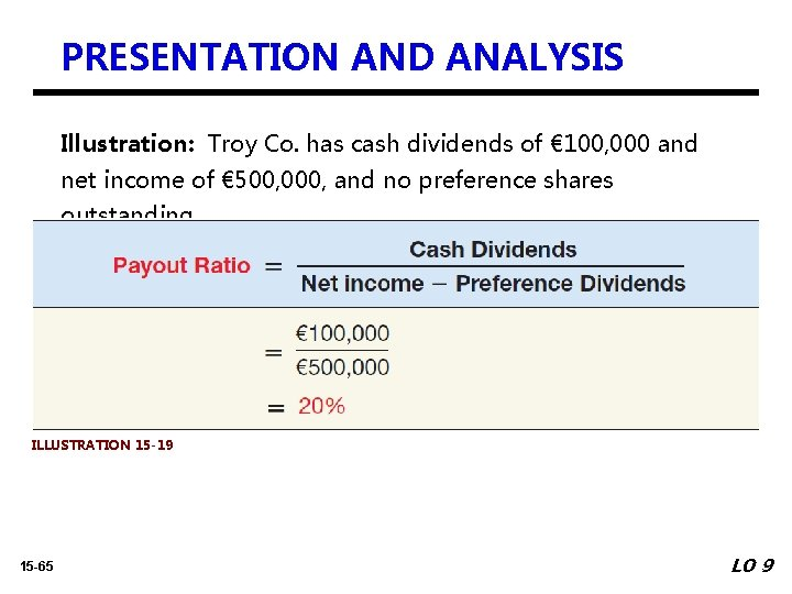 PRESENTATION AND ANALYSIS Illustration: Troy Co. has cash dividends of € 100, 000 and