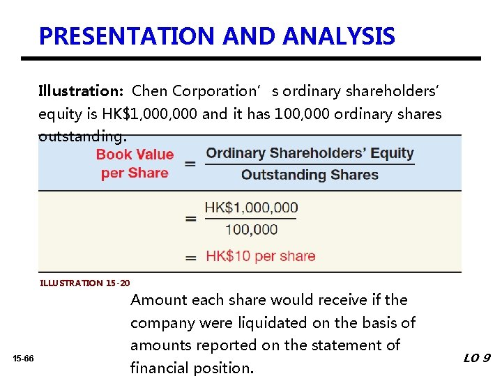 PRESENTATION AND ANALYSIS Illustration: Chen Corporation's ordinary shareholders' equity is HK$1, 000 and it