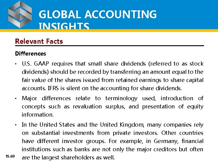 GLOBAL ACCOUNTING INSIGHTS Relevant Facts Differences • U. S. GAAP requires that small share