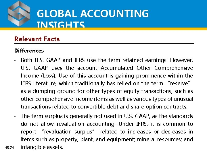 GLOBAL ACCOUNTING INSIGHTS Relevant Facts Differences • Both U. S. GAAP and IFRS use