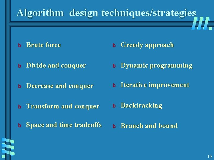 Algorithm design techniques/strategies b Brute force b Greedy approach b Divide and conquer b