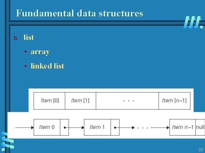 Fundamental data structures b list • array • linked list 22