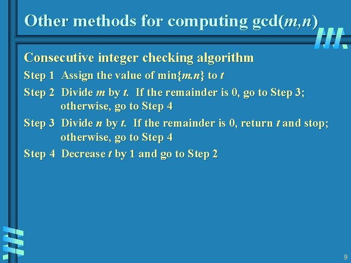 Other methods for computing gcd(m, n) Consecutive integer checking algorithm Step 1 Assign the