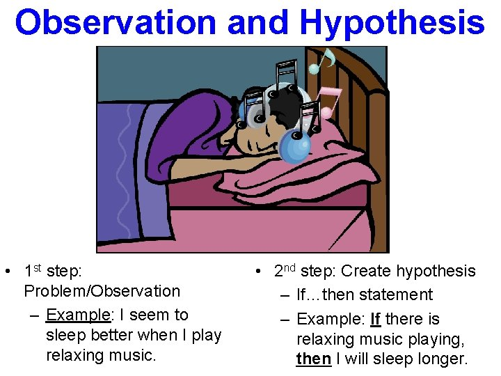 Observation and Hypothesis • 1 st step: Problem/Observation – Example: I seem to sleep
