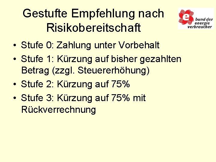 Gestufte Empfehlung nach Risikobereitschaft • Stufe 0: Zahlung unter Vorbehalt • Stufe 1: Kürzung