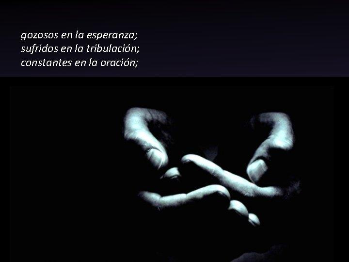 gozosos en la esperanza; sufridos en la tribulación; constantes en la oración;
