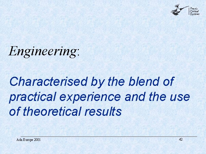 abc Engineering: Characterised by the blend of practical experience and the use of theoretical