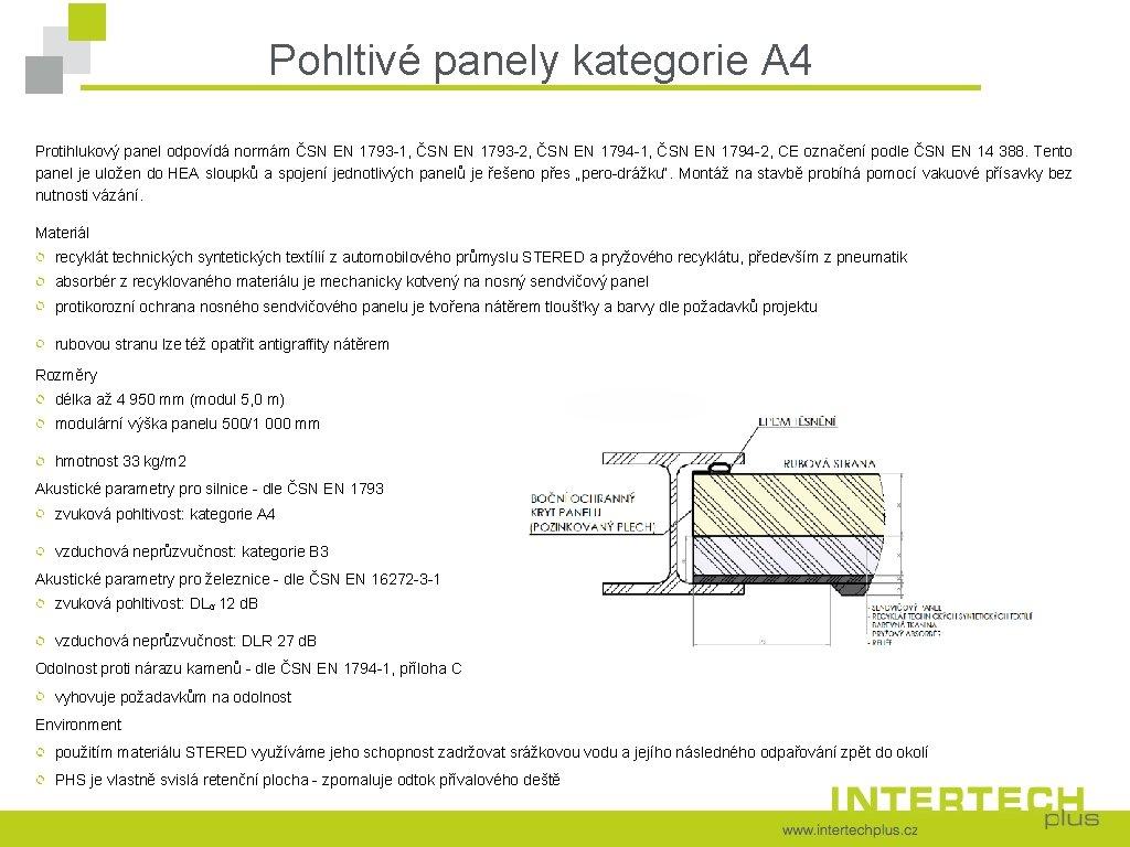 Pohltivé panely kategorie A 4 Protihlukový panel odpovídá normám ČSN EN 1793 -1, ČSN
