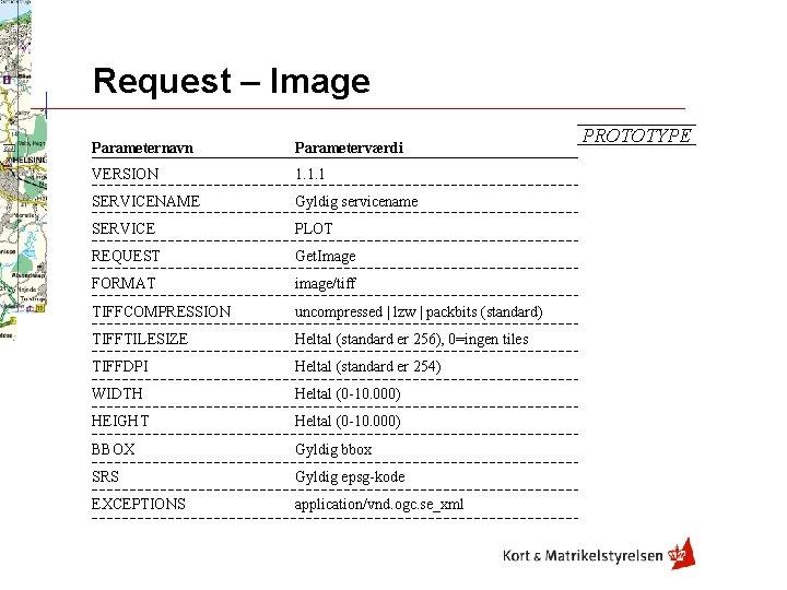 Request – Image Parameternavn Parameterværdi VERSION 1. 1. 1 SERVICENAME Gyldig servicename SERVICE PLOT