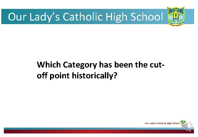 Our Lady's Catholic High School Which Category has been the cutoff point historically? Our