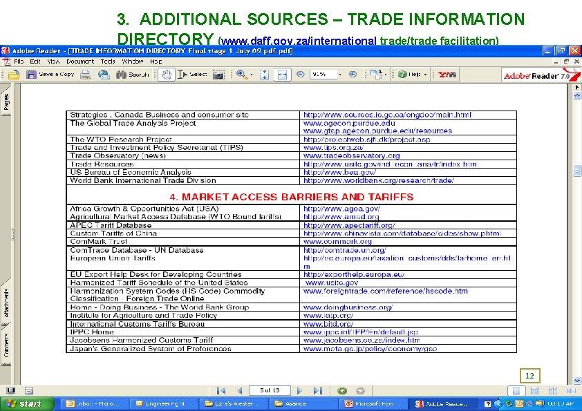 3. ADDITIONAL SOURCES – TRADE INFORMATION DIRECTORY (www. daff. gov. za/international trade/trade facilitation) 12