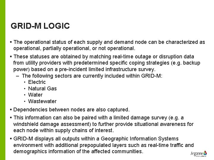 GRID-M LOGIC § The operational status of each supply and demand node can be