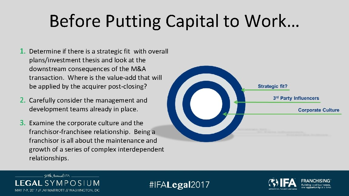 Before Putting Capital to Work… 1. Determine if there is a strategic fit with