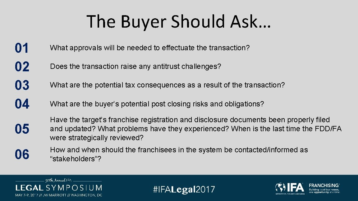 The Buyer Should Ask… 01 02 03 04 What approvals will be needed to