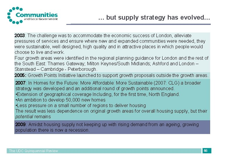 … but supply strategy has evolved… 2003: The challenge was to accommodate the economic