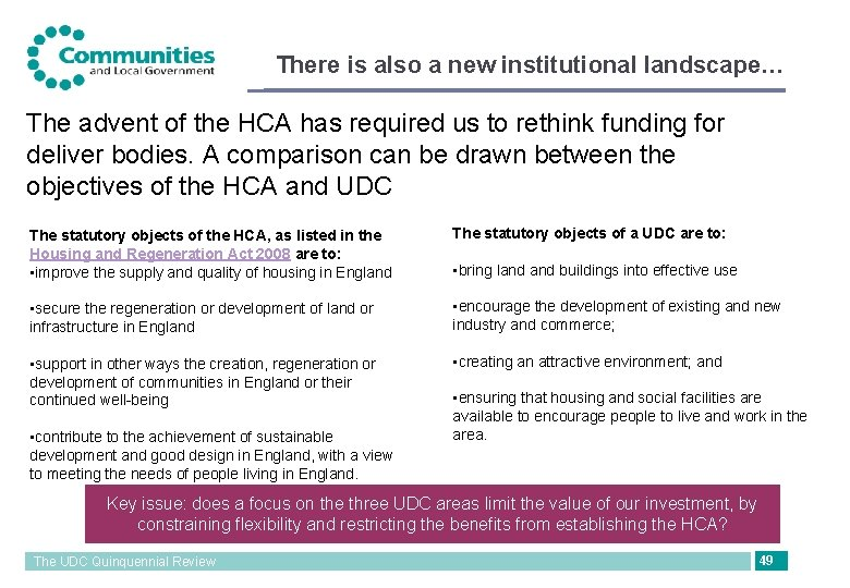 There is also a new institutional landscape… The advent of the HCA has required