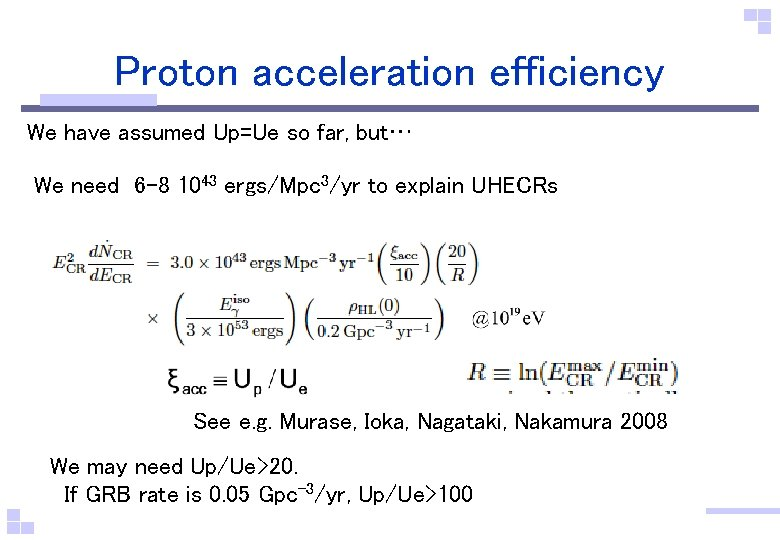 Proton acceleration efficiency We have assumed Up=Ue so far, but… We need 6 -8