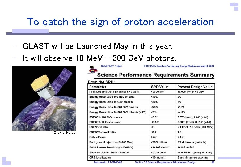 To catch the sign of proton acceleration • GLAST will be Launched May in