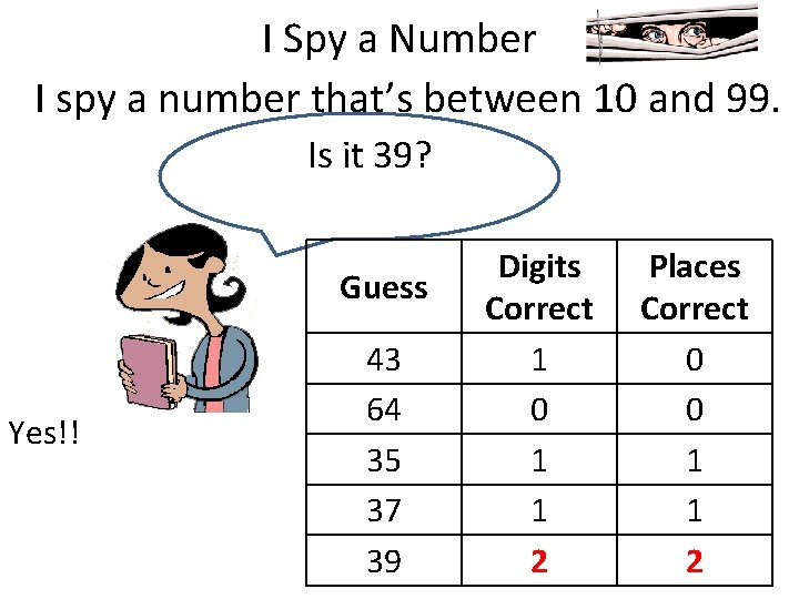 I Spy a Number I spy a number that's between 10 and 99. Is
