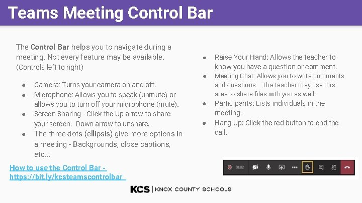 Teams Meeting Control Bar The Control Bar helps you to navigate during a meeting.