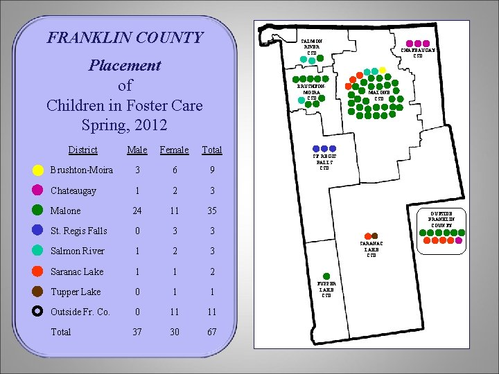 FRANKLIN COUNTY SALMON RIVER CSD Placement of Children in Foster Care Spring, 2012 BRUSHTONMOIRA