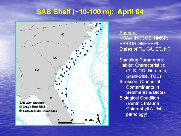 SAB Shelf (~10 -100 m): April 04 Partners: NOAA (NCCOS, NMSP) EPA/ORD/NHEERL States of