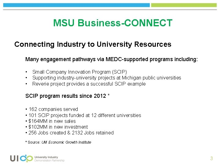 MSU Business-CONNECT Connecting Industry to University Resources Many engagement pathways via MEDC-supported programs including: