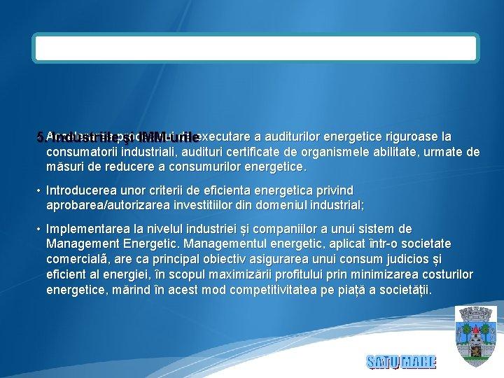 • 5. Accelerarea procesului de executare a auditurilor energetice riguroase la Industriile şi