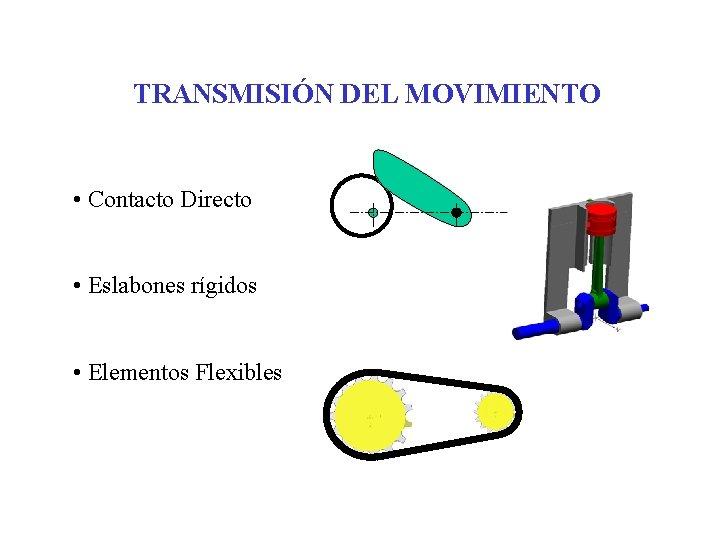 TRANSMISIÓN DEL MOVIMIENTO • Contacto Directo • Eslabones rígidos • Elementos Flexibles