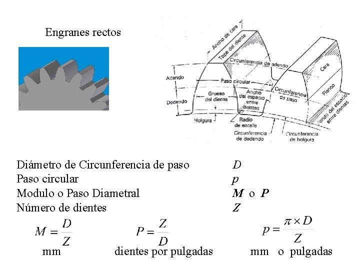 Engranes rectos Diámetro de Circunferencia de paso Paso circular Modulo o Paso Diametral Número