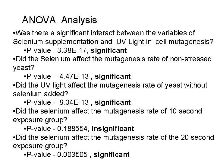 ANOVA Analysis • Was there a significant interact between the variables of Selenium supplementation