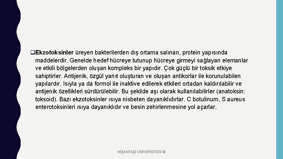 q. Ekzotoksinler üreyen bakterilerden dış ortama salınan, protein yapısında maddelerdir. Genelde hedef hücreye tutunup