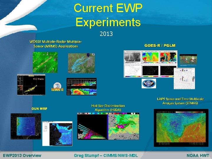 Current EWP Experiments 2013 EWP 2013 Overview Greg Stumpf – CIMMS/NWS-MDL NOAA HWT