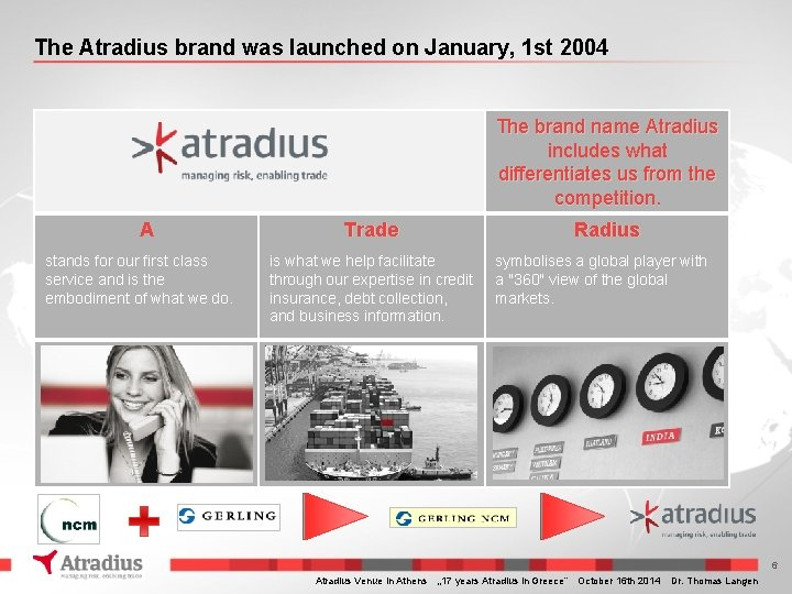 The Atradius brand was launched on January, 1 st 2004 The brand name Atradius
