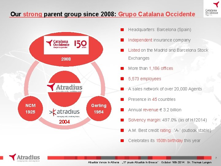 Our strong parent group since 2008: Grupo Catalana Occidente Headquarters: Barcelona (Spain) Independent insurance