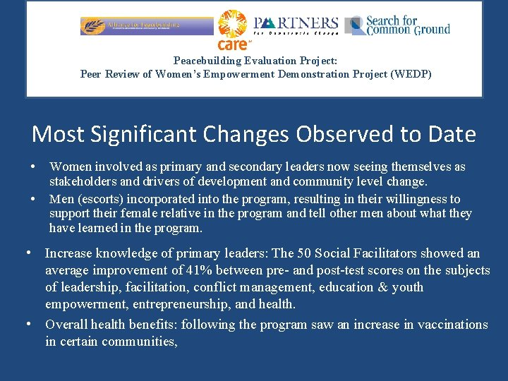 Peacebuilding Evaluation Project: Peer Review of Women's Empowerment Demonstration Project (WEDP) Most Significant Changes