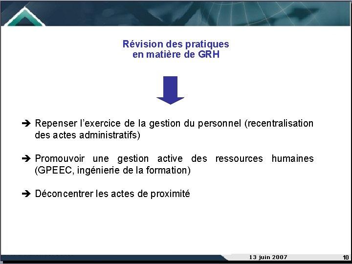 Révision des pratiques en matière de GRH Repenser l'exercice de la gestion du personnel